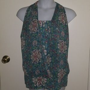 GUC Floral Print Top with Sheer Halter Overlay